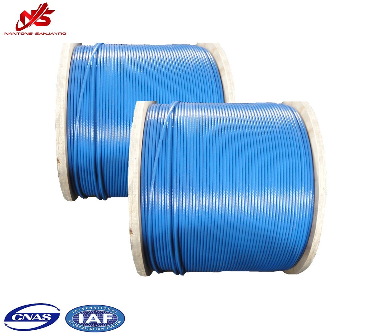 China Hardware Blue New PVC Coated Galvanized Steel Wire Rope 6X19 + ...