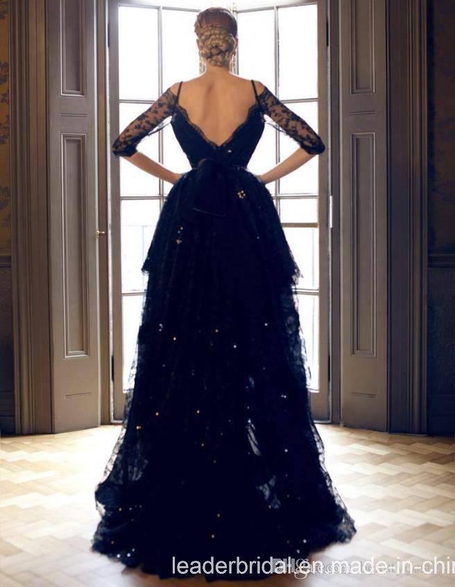 ddb003966b2 V Collar Lace Prom Formal Gowns Black Hi-Low Short Evening Dress Yao128
