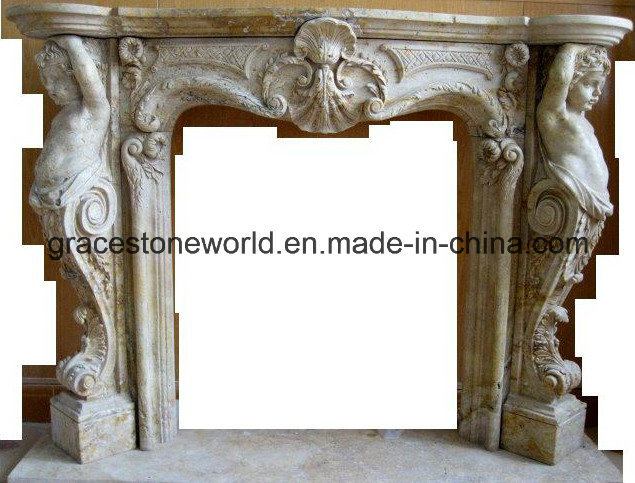 European Style Fireplace with Statue Decoration