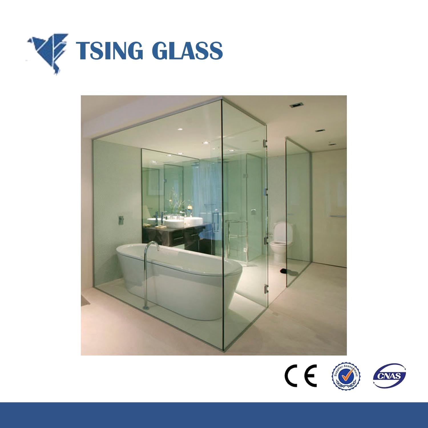 China 10mm Clear Tempered Glass Safety Toughened Glass For Shower