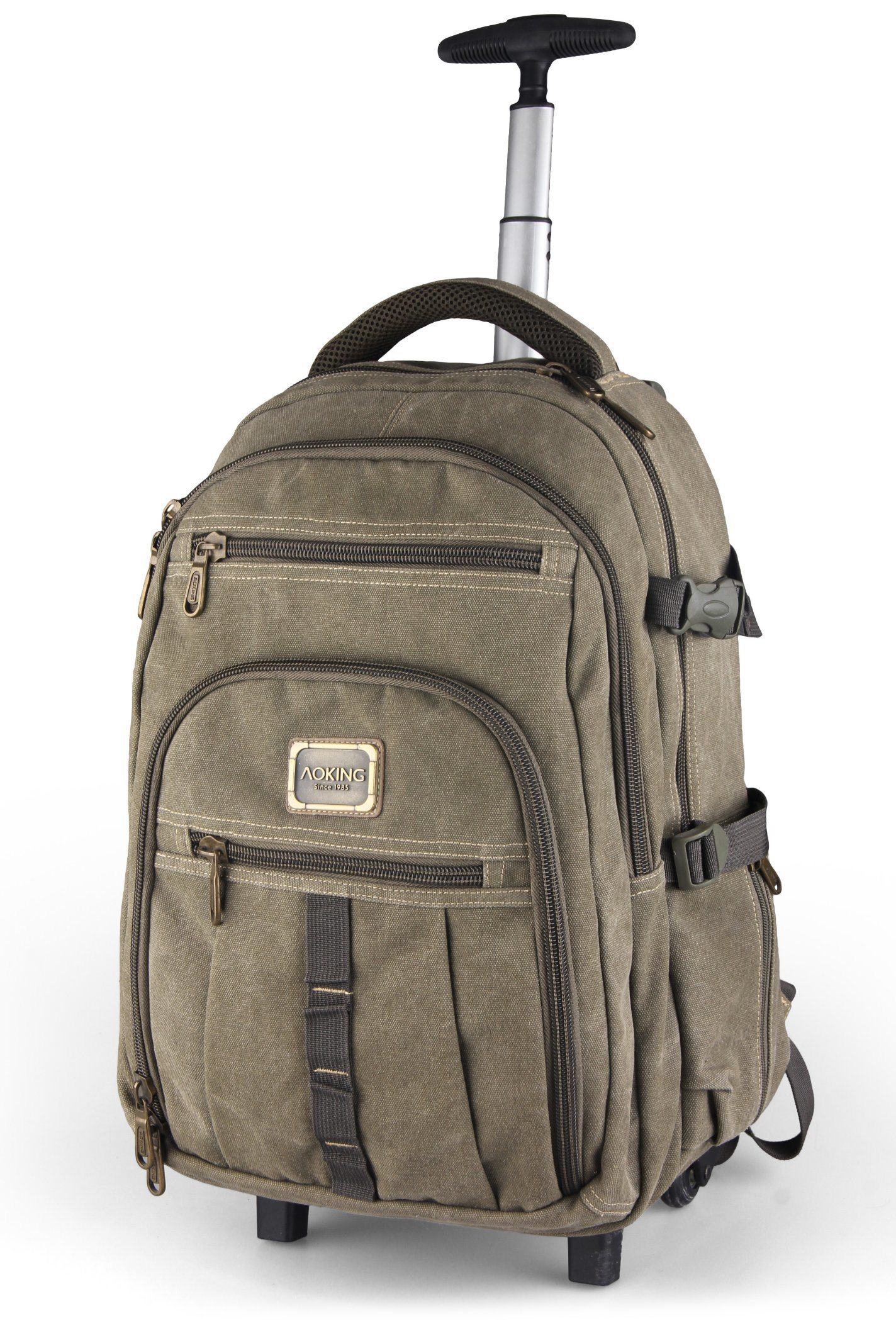 9677209f85fe [Hot Item] Canvas Wheeled Trolley Double Shoulder Outdoor Travel Sports  Shopping Leisure Computer Notebook Students Backpack Bag (CY3642)