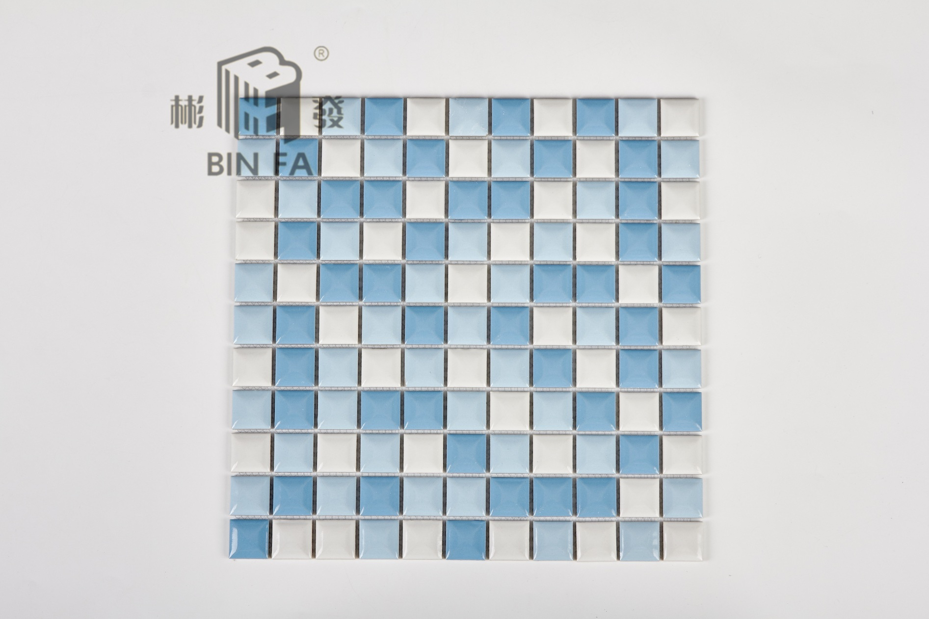 China Convex Blue and White 25*25mm Ceramic Mosaic Tile for ...