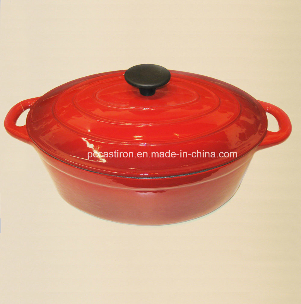 OEM Factory Oval Enamel Cast Iron Casserole in China 34X26cm pictures & photos