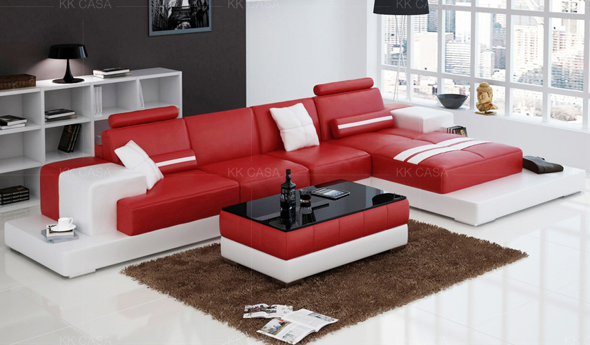 China Leather Sofa, Red Leather Furniture