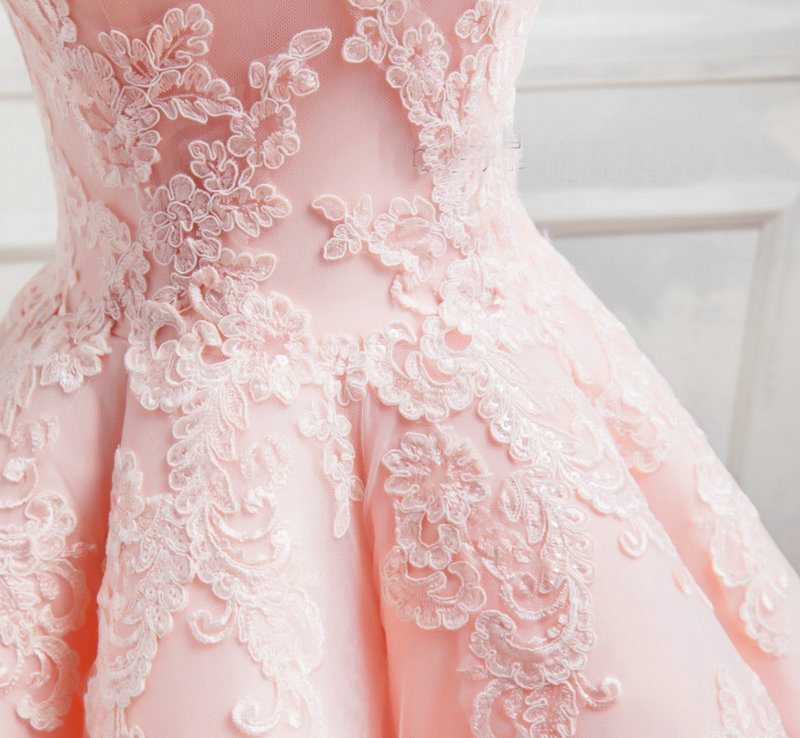 Cap Sleeves Bridal Dress Pink Lace Prom Ball Gown 2018 E7811 pictures & photos