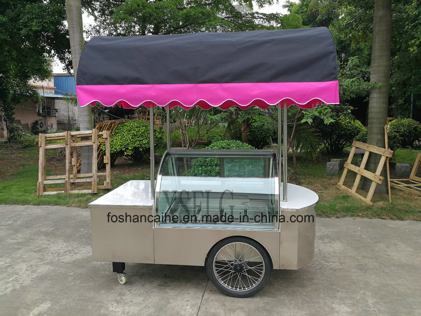 [Hot Item] Gelato Vending Cart with Wheels / Beach Trolley Cart/Ice Cream  Display Showcase Freezers (CE approved)