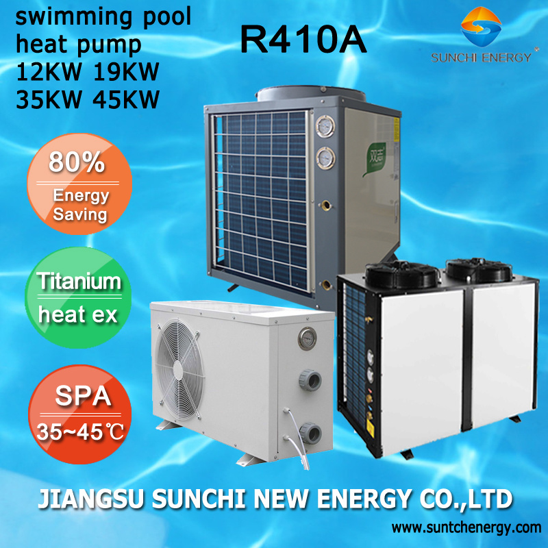 All Season Thermostat 45deg. C for 25~160cube Meter Water Cop4.6 12kw/19kw/35kw/45kw 100% Titanium Tubespa Pool Heating Heat Pump