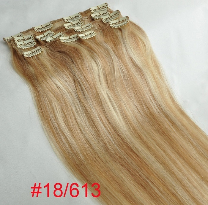 China Mixed Color Clip On Hair Extensions Human Hair Clip In Hair