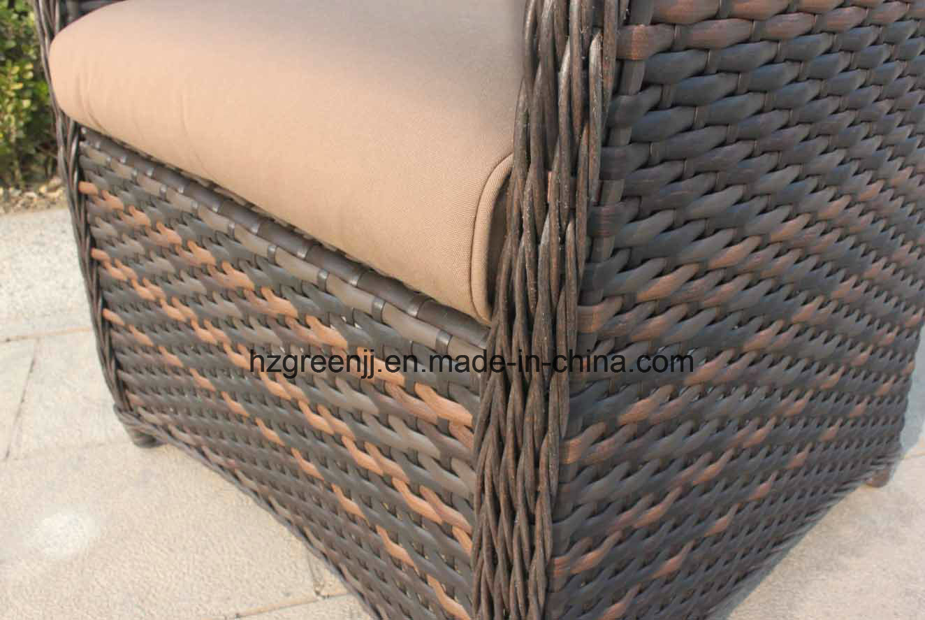Wicker Furniture Outdoor Dining Table Set With Rattan Chair 0051 10mm Half Moon Curve Flat And 5mm Round