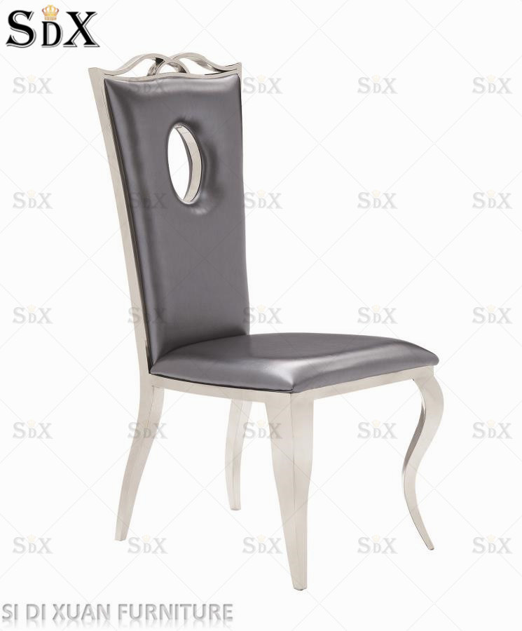 China Modern Dining Room Fabric Brown Stainless Steel Banquet Dining Chair    China Dining Room Chair, Fabric Chair
