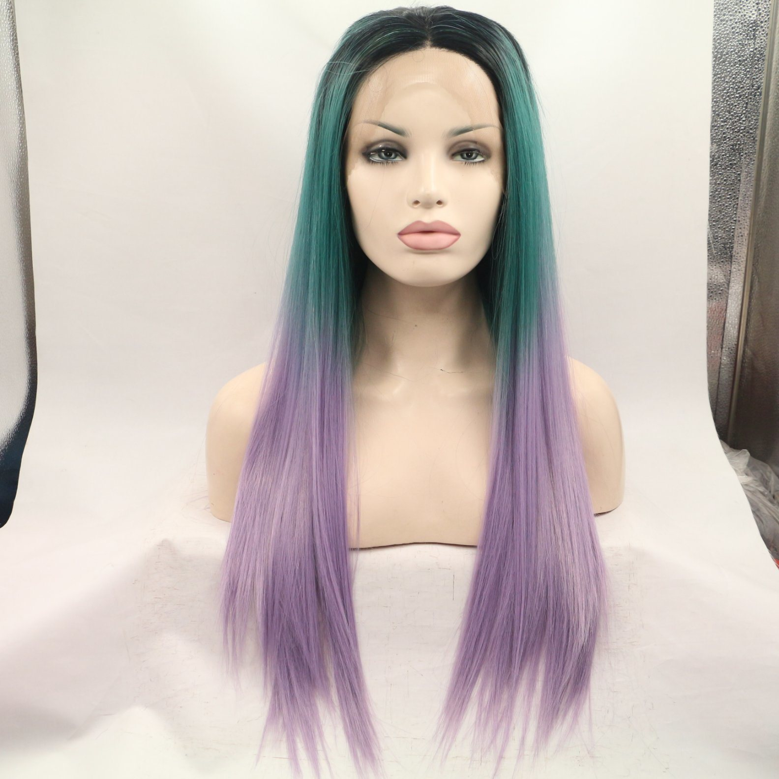 China Cheap Colorful 3 Tone Color Ombre Hair Lace Front Wig
