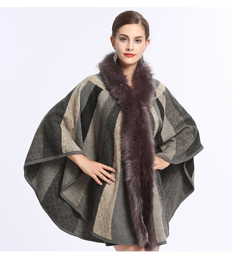 Rainbow Stripe Cape Shawl Poncho with Fox Fur and Hood pictures & photos