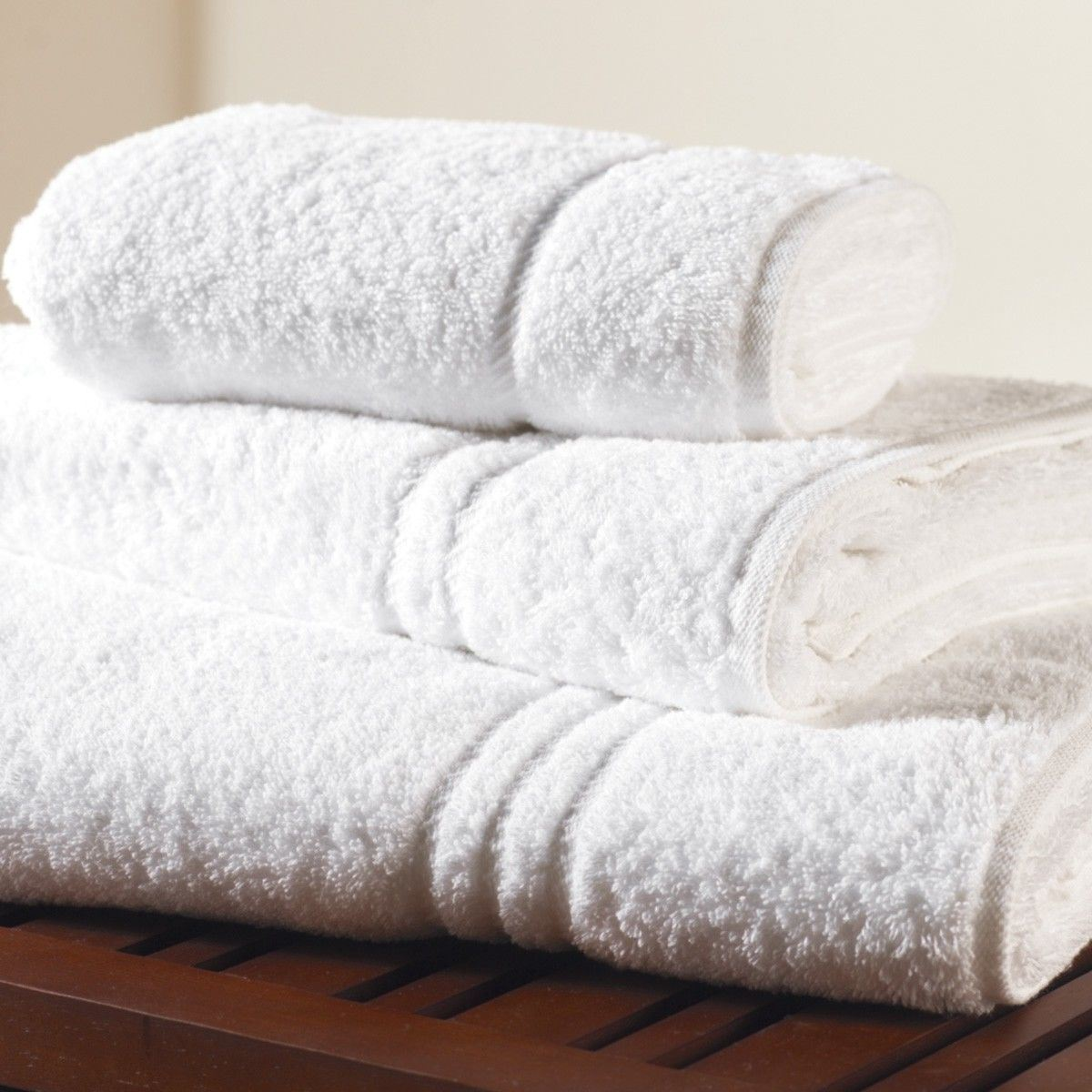 White Cotton Jacquard Terry Hotel Bath Towel, Bathroom Linen