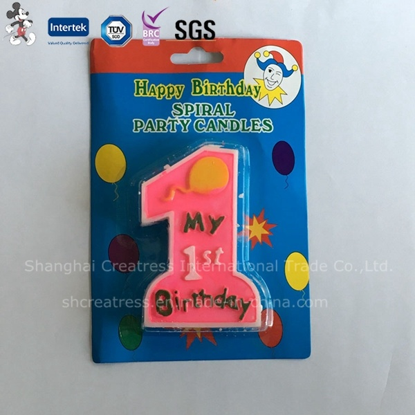 China Factory Price Elegant Design Household Printed First Birthday Candle