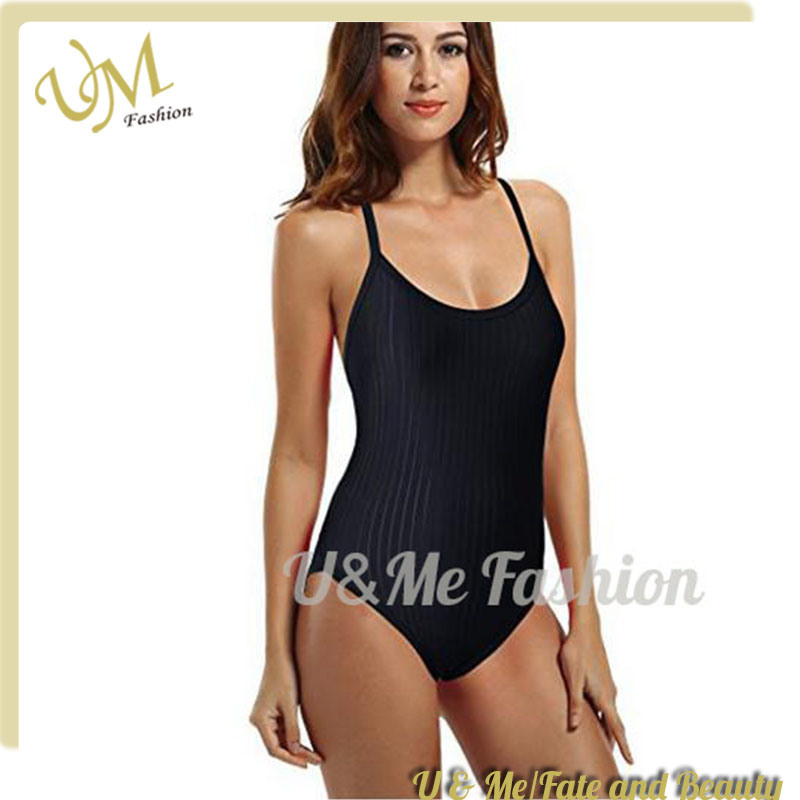 f988fee4a05 [Hot Item] Women′s Sexy Black Athletic Thin Cross Back Straps Bandage  Monokini