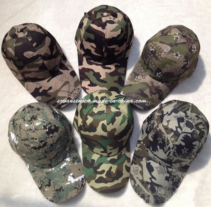 100% Cotton 6 Panels Military Camouflage Baseball Cap (V12001)