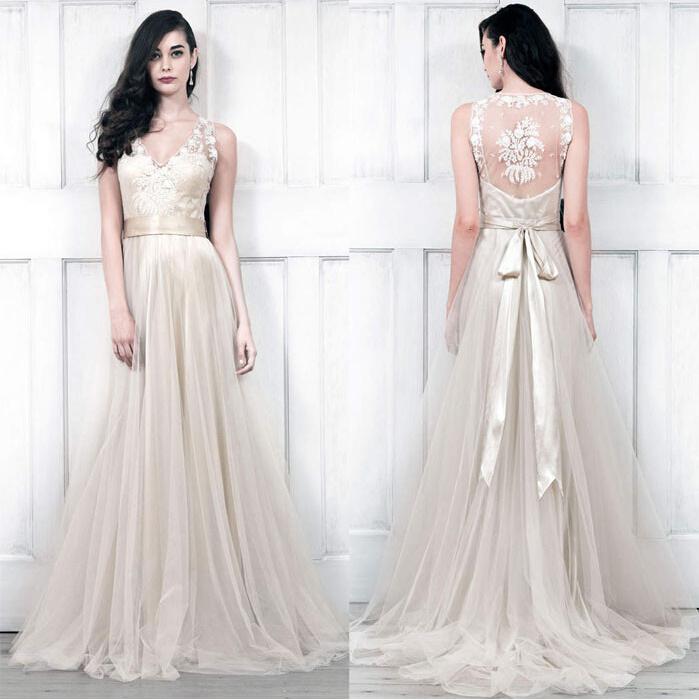 China V-Neckline Champagne Bridal Wedding Dress Lace Tulle Beach ...