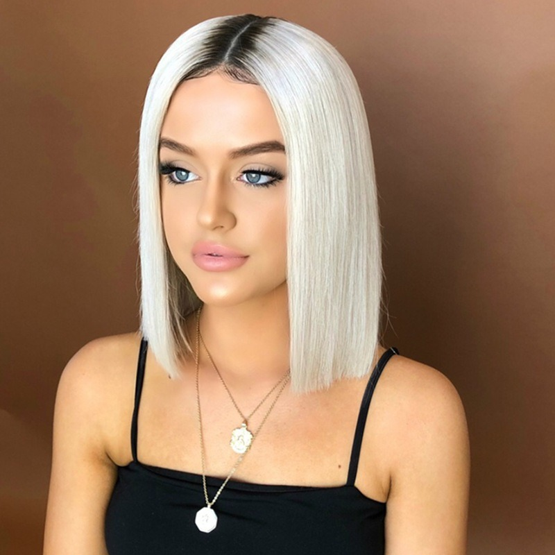 China European And American Wig Women Short Hair Fluffy Face Bobo Head Short Straight Straight Hair Dyed Gradient Wig China Human Hair And Human Hair Wig Price