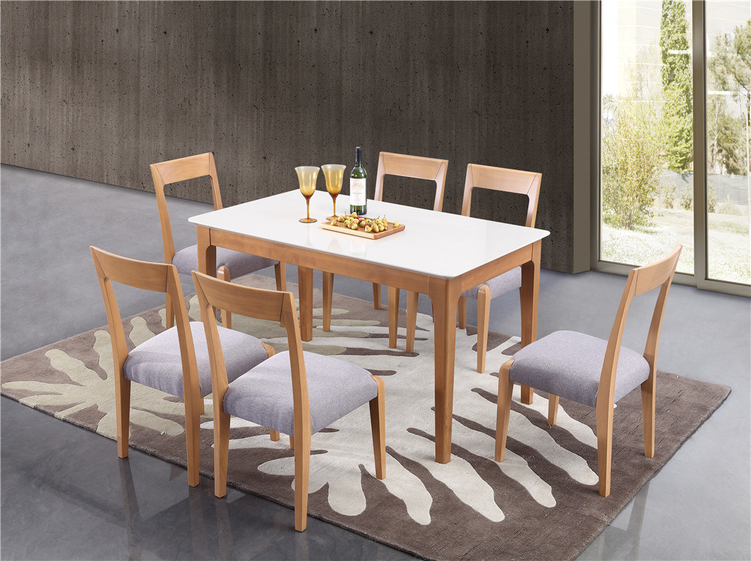 China Rubber Wooden Small Size Dining Table With 6 Chairs China Modern Dining Room Furniture Dining Table Set 6 Chairs