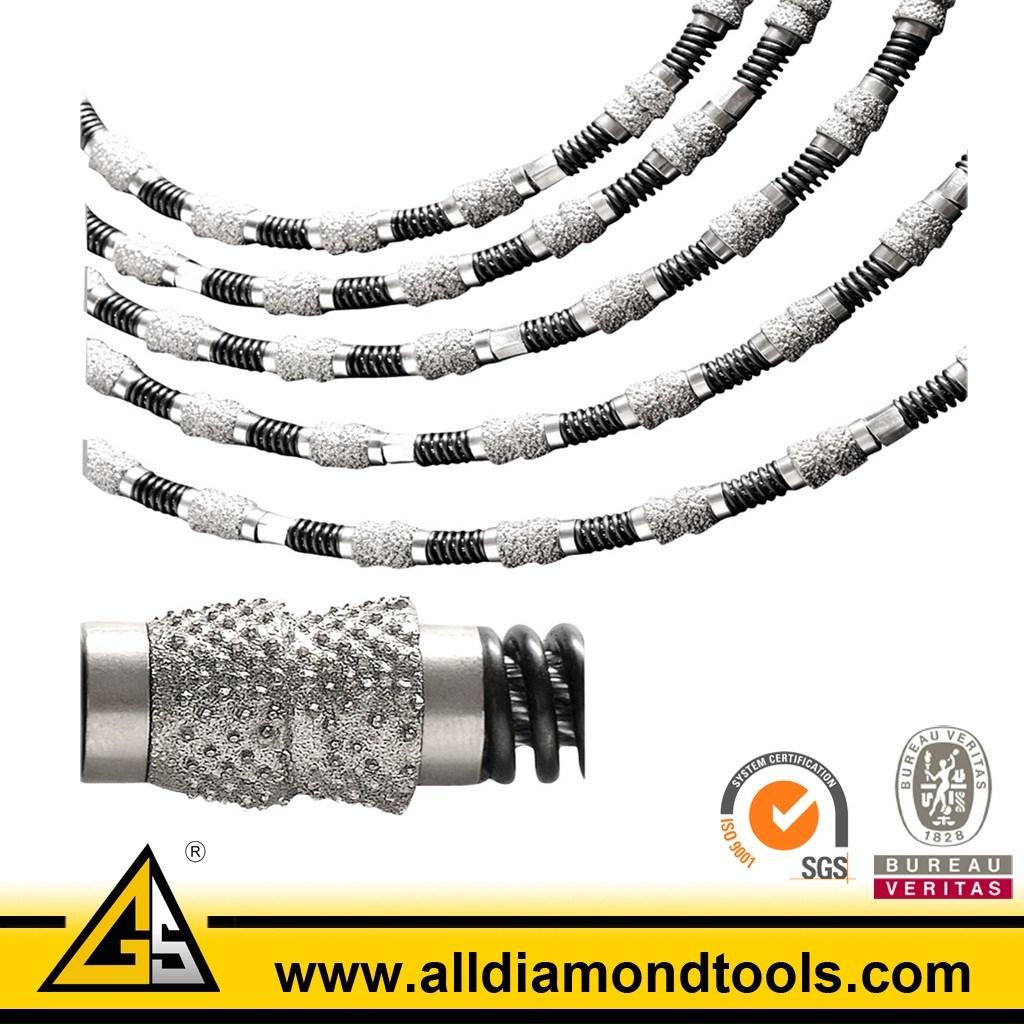 China Diamond Vacuum Brazed Wire Saw Beads for Stone Concrete ...
