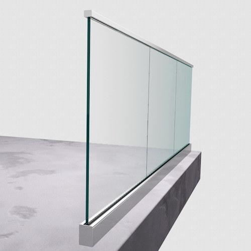 China Aluminum U Channel Glass Railing Top Mounted 1kn