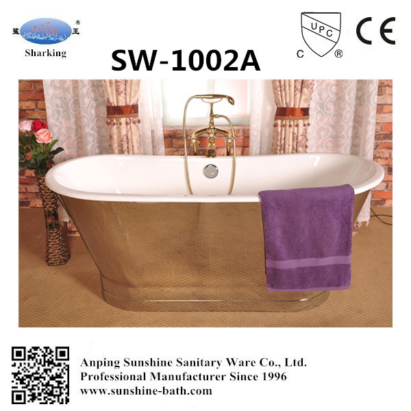 China Brushed Stainless Steel Skirted Enamel Cast Iron Bathtub Sw ...