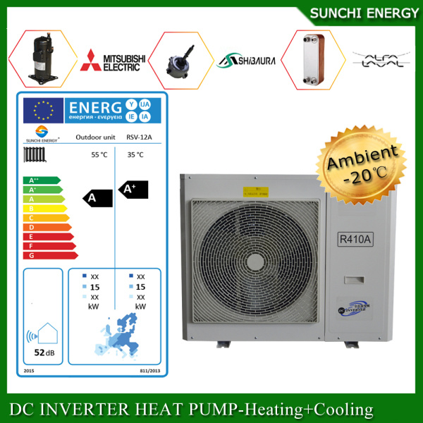 Sweden -25c Winter Area Floor Heating Room +55c Hot Water Dhw 12kw/19kw/35kw Evi Air Source Heat Pump Monobloc
