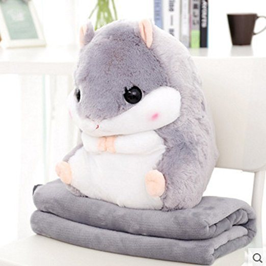 China Cute Grey Plush Decorative Throw Pillow Blanket Set For Home