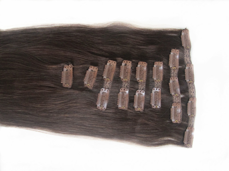 Full Head 100% Human Hair Clip in Hair Extensions 18inches pictures & photos