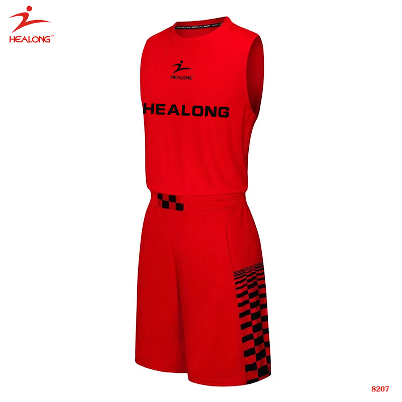 6748214000f2 Healong Custom Sublimated Red Basketball Uniform Simple Design Basketball  Jersey