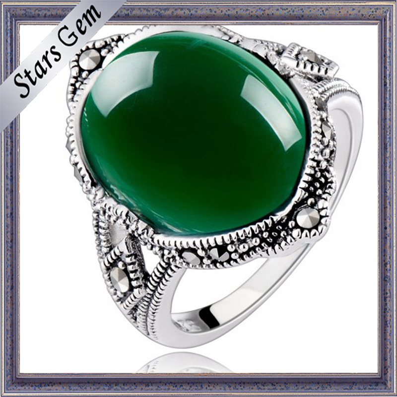 The Best Top Grade Deep Green Agate for Ring Setting