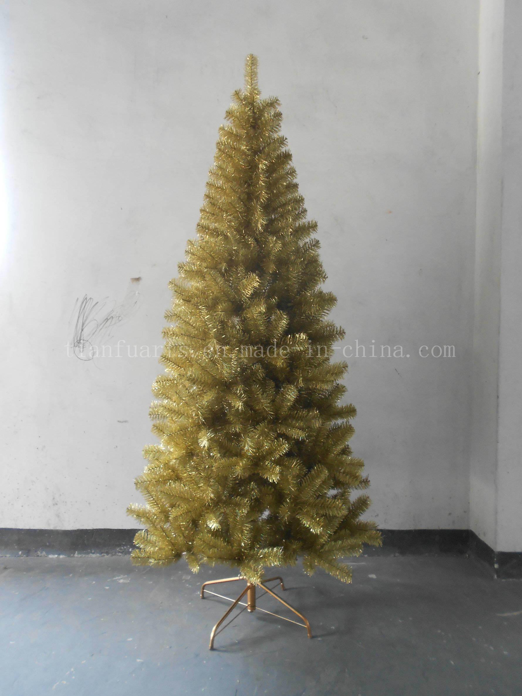 Holographic Christmas Tree.China Holographic Gold Tinsel Tree 210cm China Christmas