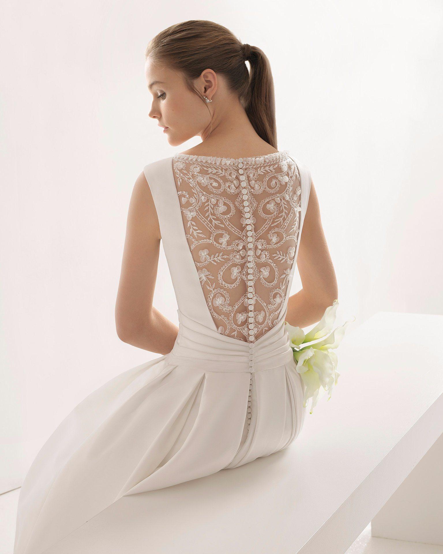 3804e098323 China Boat Neck Lace Back Pleat Belt Satin Bridal Wedding Dress ...