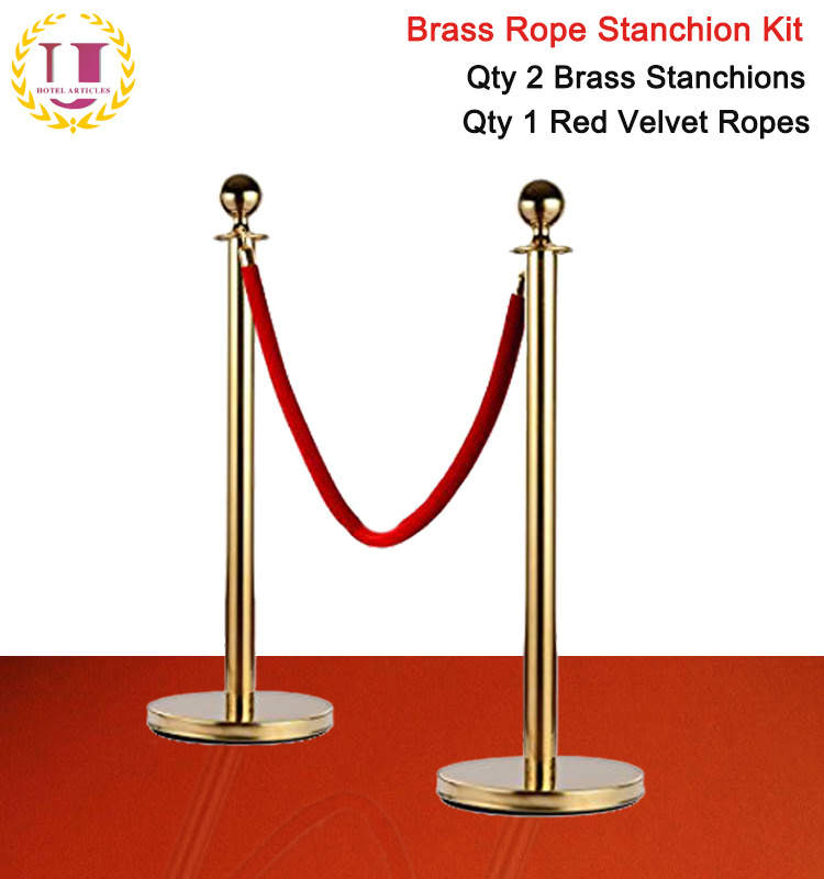 Stanchions For Sale >> Hot Item Hot Sale Brass Plated Queue Stanchions With Red Velvet Rope