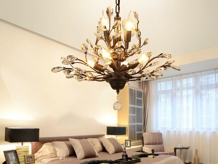 [Hot Item] LED Light Crystal Pendant Lighting Ceiling Light Fixtures  Chandeliers Lighting for Living Room Bedroom Restaurant Porch Chandelier  (Black) ...