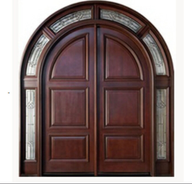 China One Stop Customized Fancy Double Solid Wooden Timber Entrance