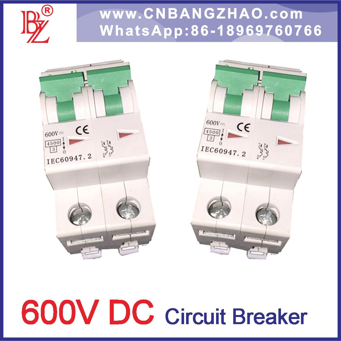 China 2 Pole 600V DC Circuit Breaker (MCB) for Solar Power System ...