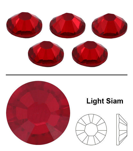 2mm Great Quality Hot Fix//Iron on Siam Red Flatback Round HOTFIX SS6