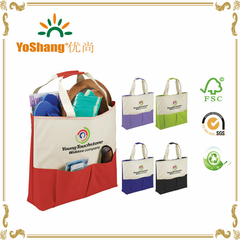 China Custom Small Recyclable Ping Handle Canvas Bag With Front Pocket Tote