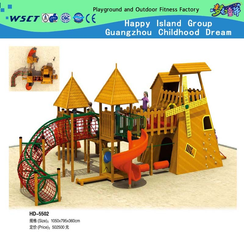 Hot Item Large Outdoor Wooden City Castle Playground For Outdoor Playground Hd 5401