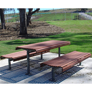 China Steel Frame Wooden Outdoor Table And Bench - China Outdoor Furniture, Steel And Wood Dining Table And Chair