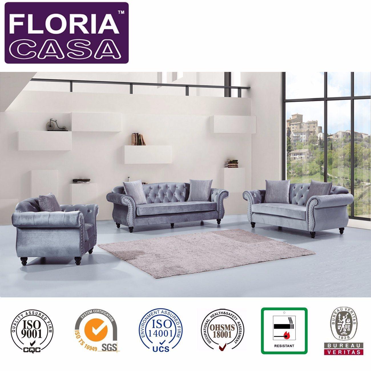 [Hot Item] Divani Casa Classical Home Furniture Velvet Fabric Chesterfield  Sofa
