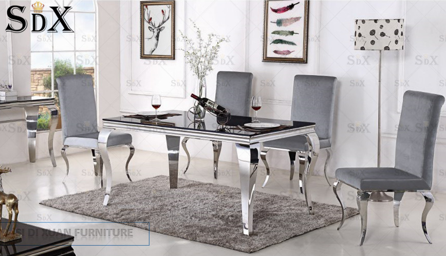 Hot Item Louis Modern 1 6 Meter Gl Metal Dining Table Sets For Home Furniture