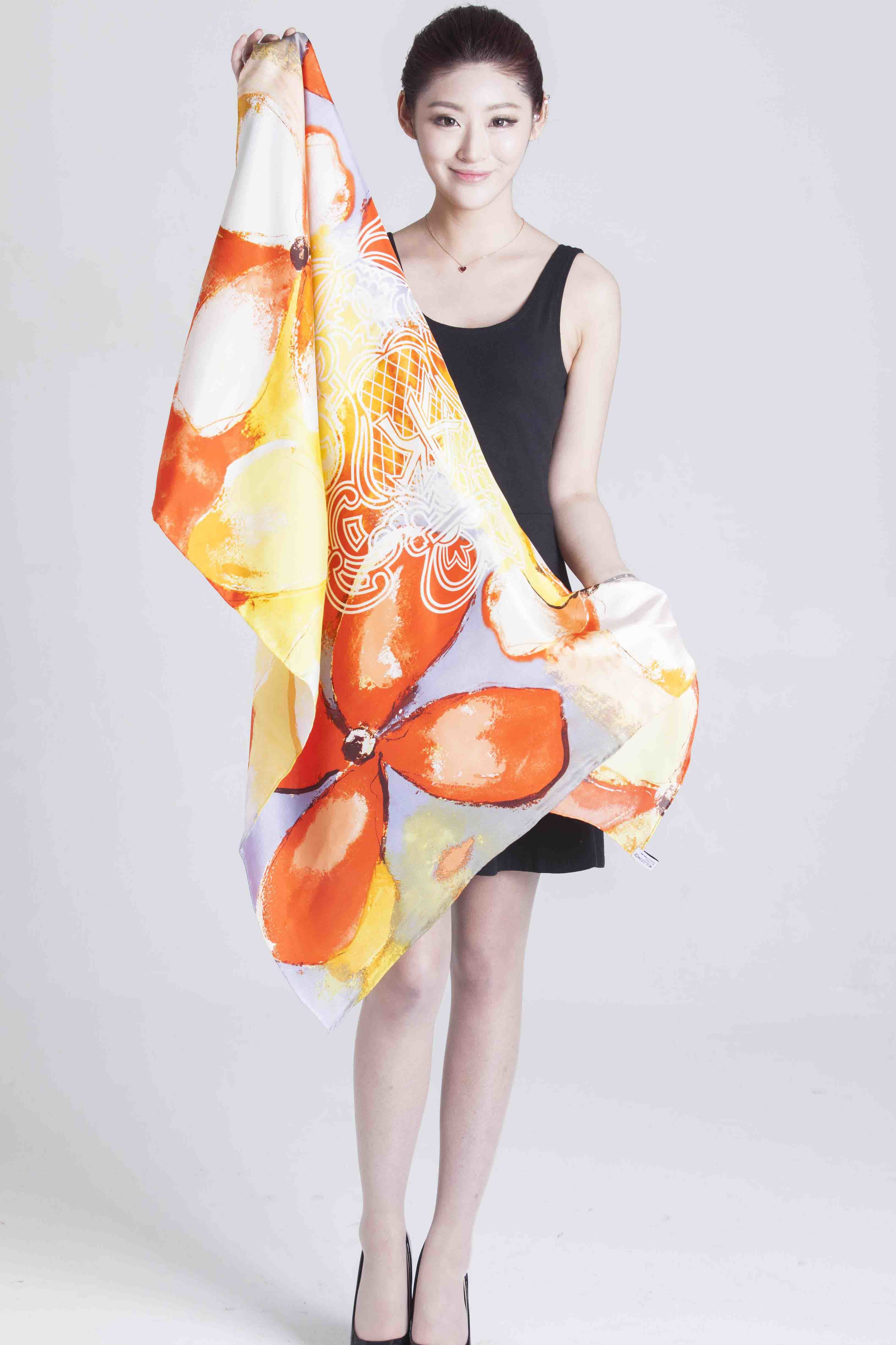 100%Silk Printed Shawl Ladies Fashion Scarf Screen Printed Scarf