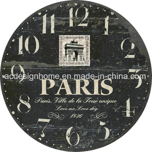 China Decorative Mdf Vintage Round Wall Clock For Home Decor China