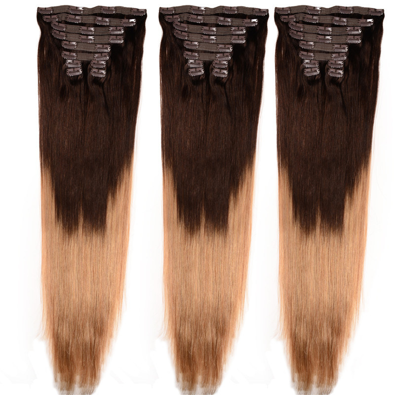 China Clip In Human Hair Extensions 8 Pcs 100 200 G Clip In Hair