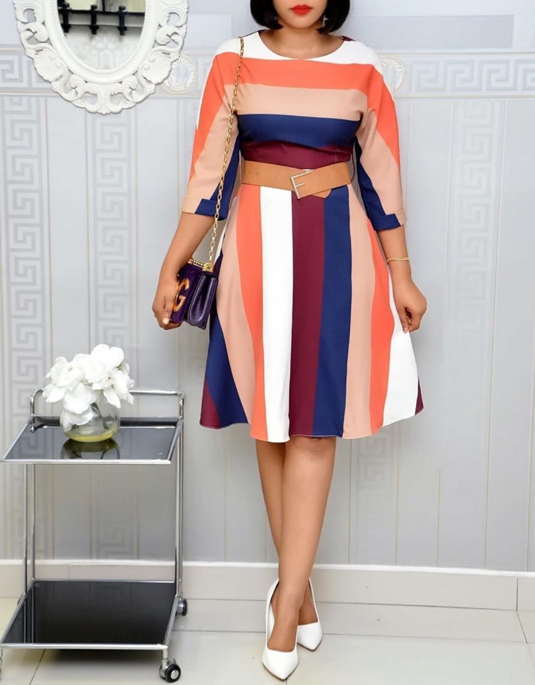 China Elegant Ladies Multi Colorstriped Half Sleeve Knee Length Dress Plus Size Dress Fashion Women A Line Casual Wear Daily Wear Office Dresses Esg13654 China Dress And Ladies Dress Price