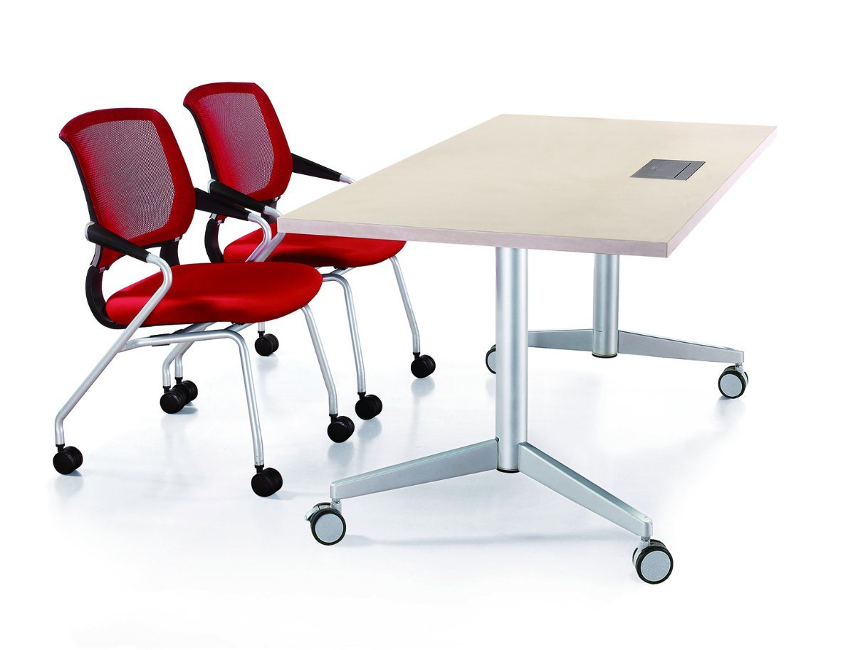 with Multi-Purpose Socket on Table Top Mobile Office Folding Activity Table Training Desk pictures & photos