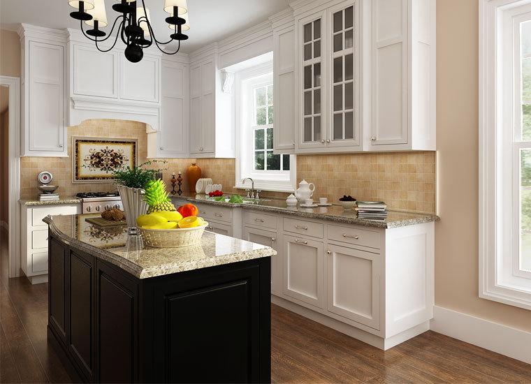 China White Shaker Rta Solid Wood Kitchen Cabinets Modern ...