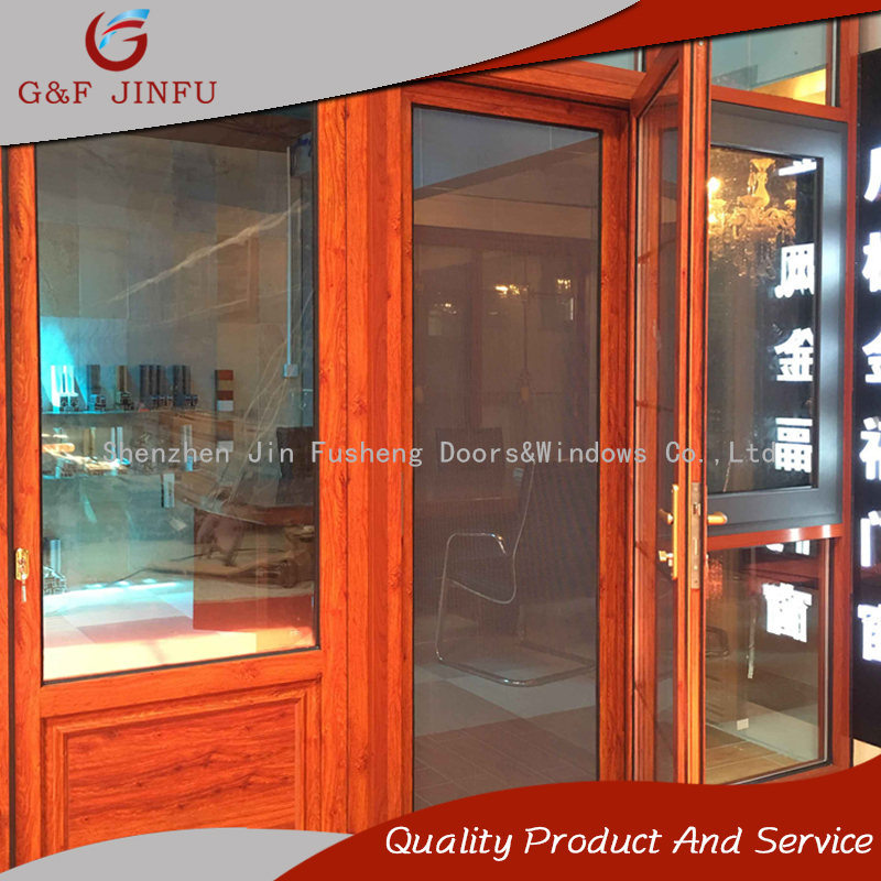 China Wood Looking Aluminium Profile French Door Entrance Door With